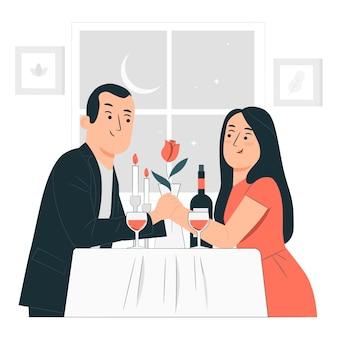 Иллюстрация концепции ужина на день святого валентина