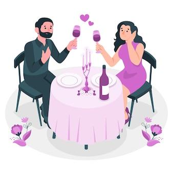 Valentine's day dinnerconcept illustration