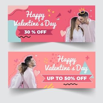 Valentine's day discount sale banners with photo