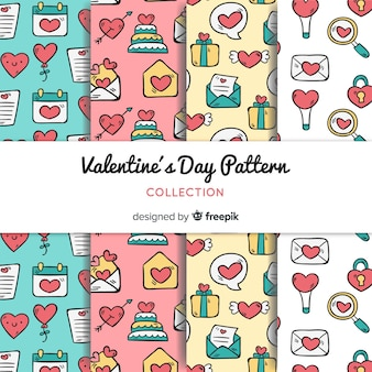 Valentine's day doodle pattern collection
