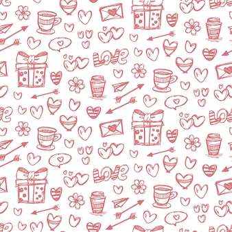 발렌타인 데이 낙서 원활한 패턴 디자인 배경