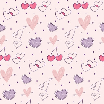Valentine's day doodle seamless pattern