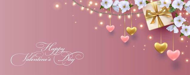 ぶら下がっている心、電球の花輪と美しい白い花とバレンタインデーのエレガントなバナー