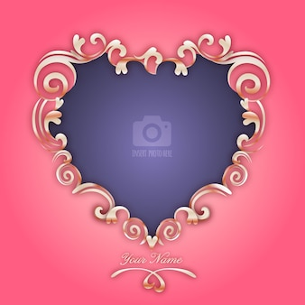 Valentine's day elegant romantic heart photo frame