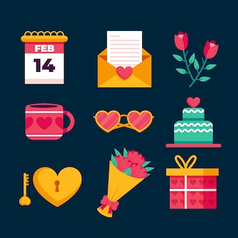 Valentine's day element collection flat design style