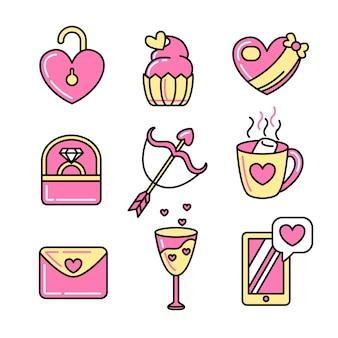 バレンタインの要素コレクションフラットなデザインスタイル