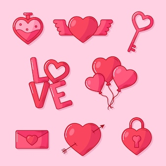 Valentine's day element collection in flat design
