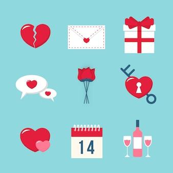 Valentine's day element collection flat design