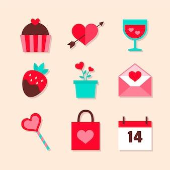 Valentine's day element collection in flat design