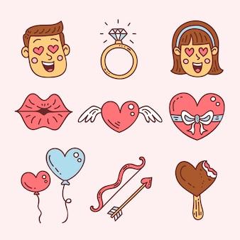 バレンタイン要素コレクション手描きスタイル
