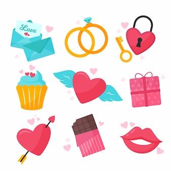 フラットなデザインのバレンタイン要素コレクション