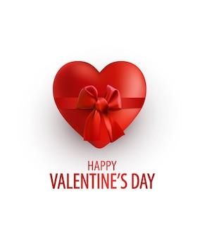 バレンタインデーの要素のデザイン。リボンと弓でリアルな赤いハート。幸せなバレンタインデー