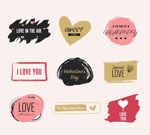 Valentine`s day element label and banner.