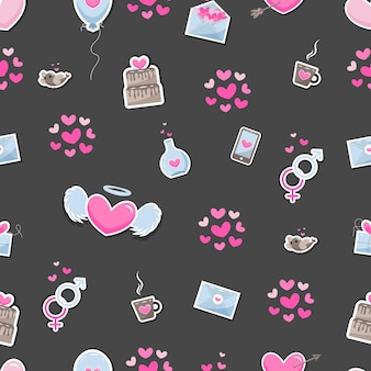 Valentine's day elements abstract background. set of cute hand drawn icons about love isolated on dark background in delicate shades of colors. pattern happy valentine's day.