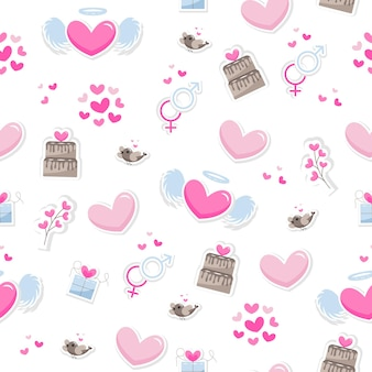 Valentine's day elements abstract background. set of cute hand drawn icons about love isolated on white background in delicate shades of colors. pattern happy valentine's day