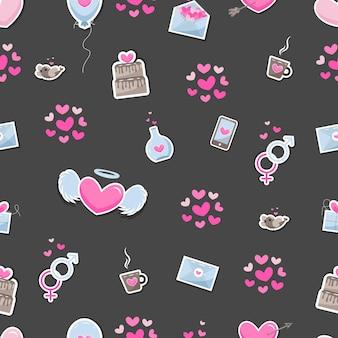 バレンタインデーの要素は、背景を抽象化します。繊細な色合いの暗い背景に分離された愛についてのかわいい手描きアイコンのセットです。パターンハッピーバレンタインデー。