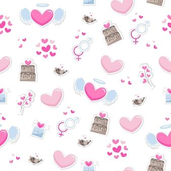 バレンタインデーの要素は、背景を抽象化します。繊細な色合いの白い背景で隔離の愛についてのかわいい手描きアイコンのセットです。パターンハッピーバレンタインデー