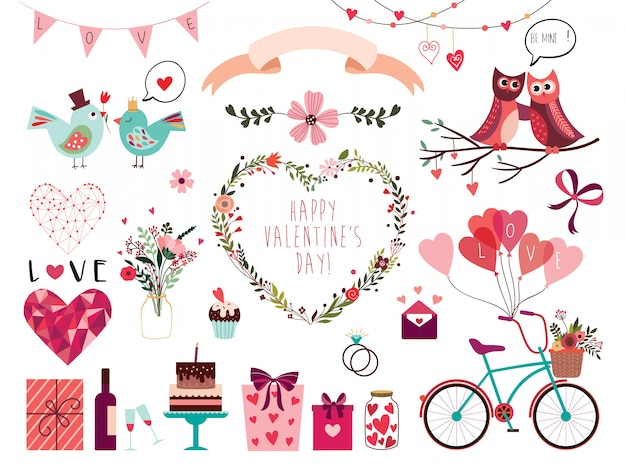 Valentine's day elements collection