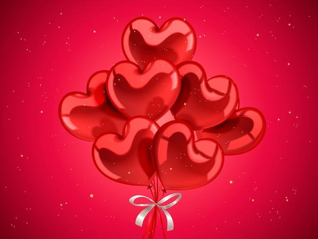 バレンタインデーの要素、3dイラストの黄金の粒子でお祝いのためのハート型の風船