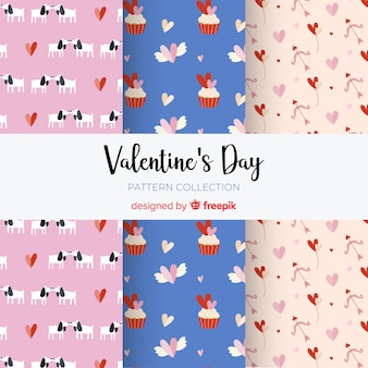 Valentine's day elements pattern collection