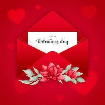 Конверт на день святого валентина с акварельными ботаническими элементами и красными сердечками