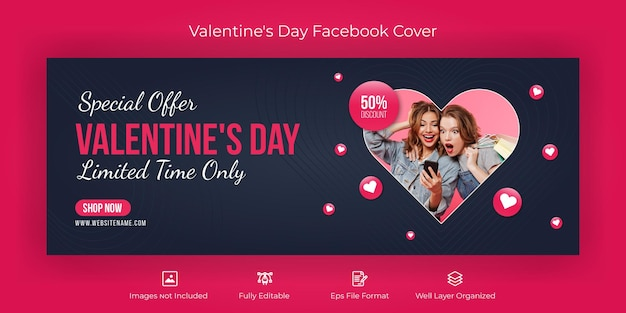 Valentine's day facebook cover banner