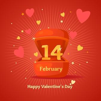 バレンタイン・デー。 2月14日。漫画風のギフトボックス。
