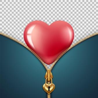 День святого валентина февраль. застежка-молния в виде замка с замочной скважиной, золотого цвета, за ней красное сердце.