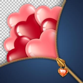 День святого валентина февраль. застежка-молния с камнем в виде красного сердца, за которым летят красные и розовые шары - сердечки.