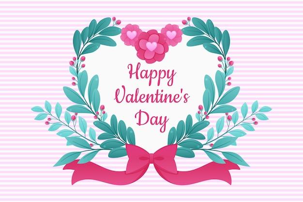 꽃과 하트 발렌타인 평면 디자인 배경