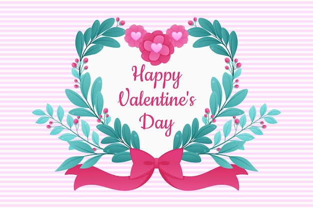 Valentine's day flat design background with flowers and heart