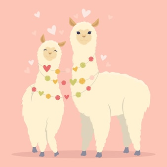 발렌타인 데이 평면 그림. 귀여운 라마 알파카와 하트로 나의 라만 틴 카드가되어주세요. 인사말 카드 또는 초대장 유행 스타일 벡터 일러스트 레이 션