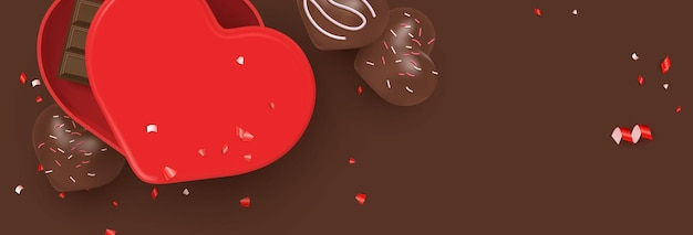 Valentine's day flat lay illustration with cute heart desserts, chocolate bar, gift box