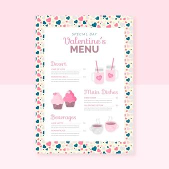 Valentine's day flat menu template