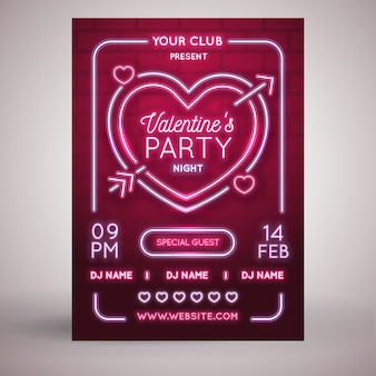 Valentine's day flat party flyer template