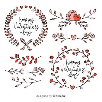 バレンタインのフローラルリースとデコレーションコレクション