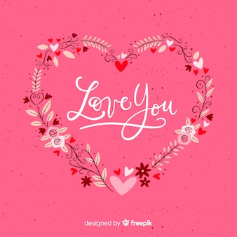 Valentine's day floral wreath background