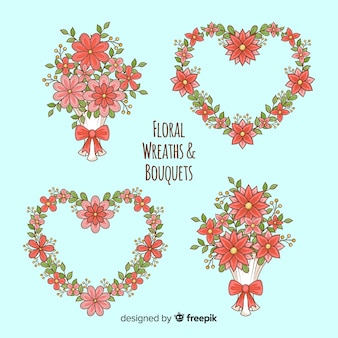 Valentine's day floral wreath and bouquets collection