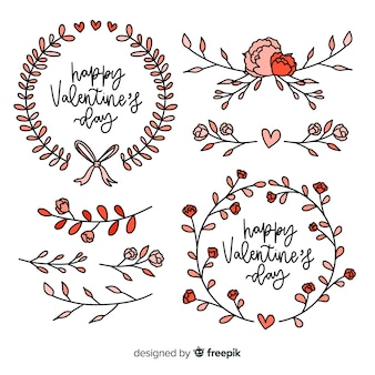 Valentine's day floral wreath and decorations collection