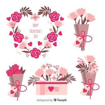 バレンタインの花輪と花束