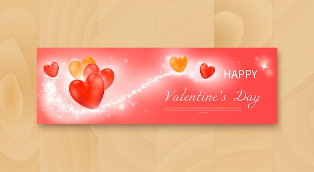 現実的な赤と黄色の心とバレンタインデーのチラシ