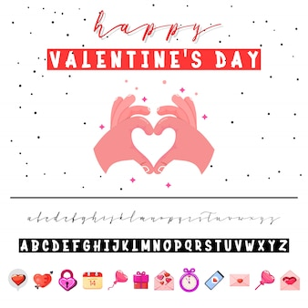 Valentine's day font and card