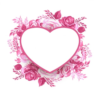 Valentine's day frame with flowers
