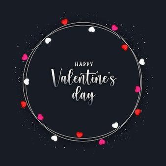 銀の要素と電球の装飾が施されたバレンタインデーのフレーム