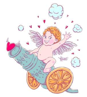 День святого валентина. забавный мальчик-купидон верхом на пушечной стрельбе из сердец.