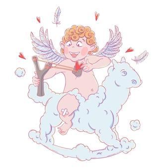 День святого валентина. забавный амур на облачной лошади стреляет с рогаткой.
