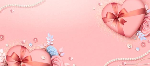 バレンタインデーのギフトボックスと紙の花のバナーデザイン、3dイラスト