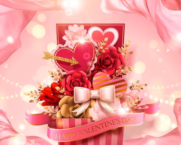 Подарочная коробка ко дню святого валентина, полная бумажных цветов и украшений в виде сердечек на 3d иллюстрации