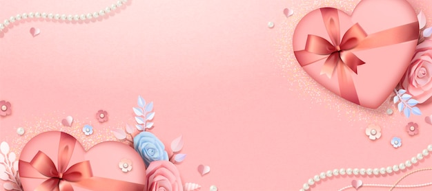 Valentine's day gift box and paper flowers banner design, 3d illustration