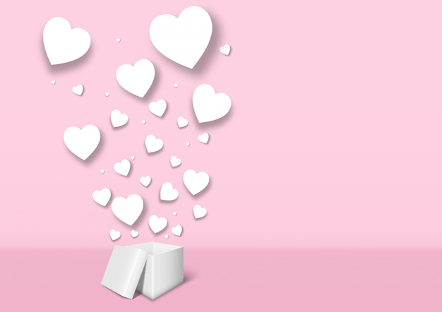 Valentine's day gift box on pink background